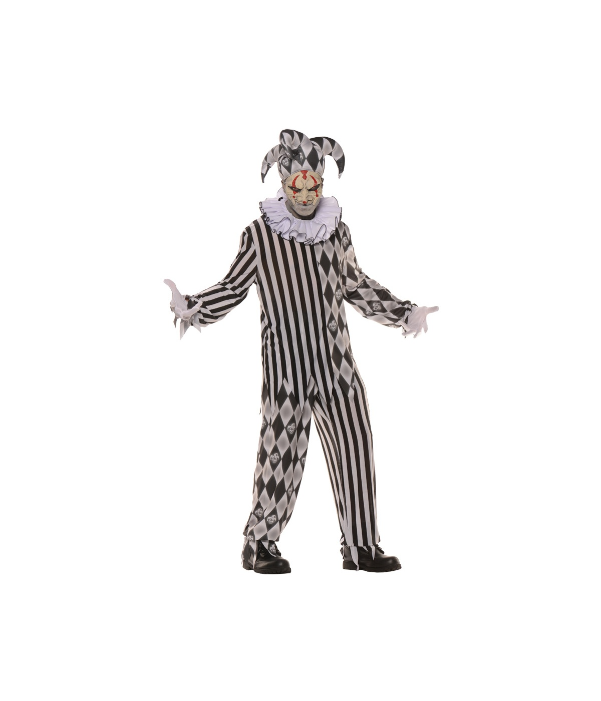 Scary Evil Harlequin Clown Teen Men Costume