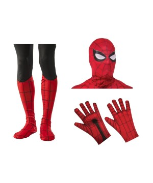Spiderman Men Mask Gloves And Boot Tops Costume Set