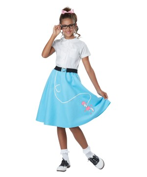 Girls 1950s Blue Poodle Skirt