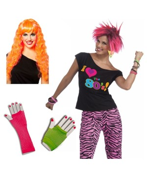 1980s Party Girl Woman Costume Set