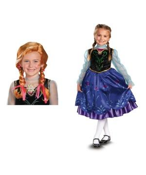 Disney Anna Girls Frozen Costume And Wig Set