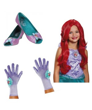 Girls Ariel Wig Gloves And Shoes Set