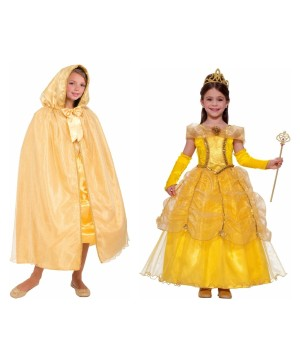 Girls Beauty And The Beast Belle Costume And Hooded Cape