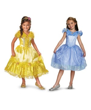 Disney Cinderella And Belle Girls Costumes