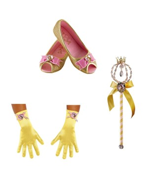 Girls Belle Costume Gloves Shoes And Wand Set