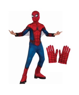 Spiderman Homecoming Boys Costume And Gloves Set