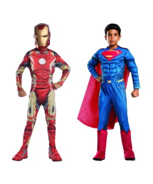 Superman and Iron Man Boys Costume Set
