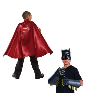 Boys Superman Cape And Batman Gauntlets Costume Kit