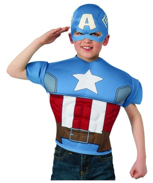 Captain America Kids Muscle Costume Shirt