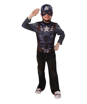 Captain America Stealth Boys Costume Top Patriotic Superhero Small
