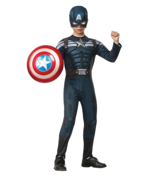Captain America Stealt Boys Costume Patriotic American Superhero Small