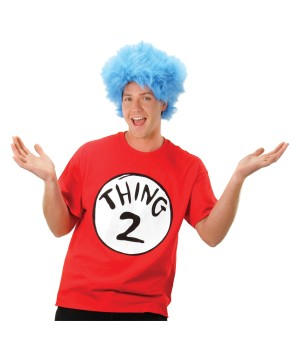 Thing 2 From Cat In The Hat Shirt And Wig Men Costume Kit