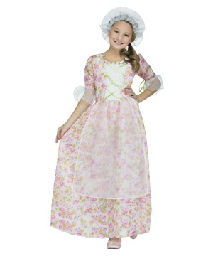 Colonial Girls Costume School Play Halloween Dress With Cap