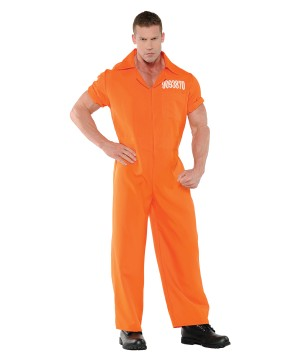 Orange Prison Jumpsuit Men Costume