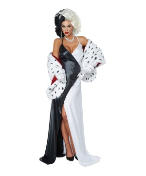 Cruel Dalmatian Diva Women Costume And Wig