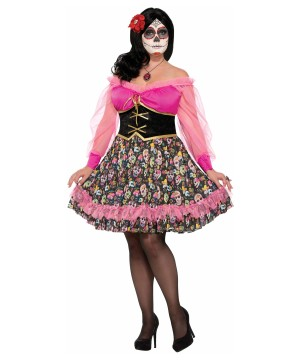 Day Of The Dead Woman Plus Size Costume