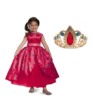Disney Elena Of Avalor Girls Dress And Tiara Set