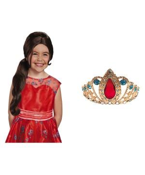 Disney Elena Of Avalor Princess Wig And Tiara Costume Kit