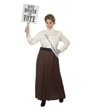 English Suffragette Plus Size Womens Costume Historical Outfit