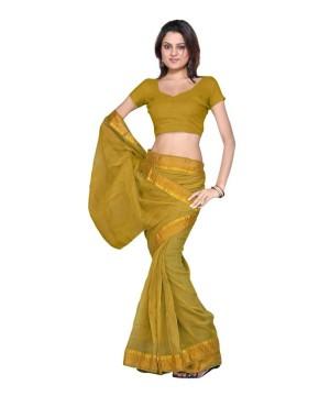 Ethnic Designer Kota Doria Mustard Sari And Blouse Fabric