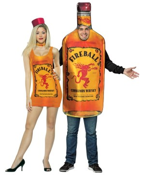 Fireball Dress And Bottle Couple Costume