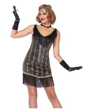 Black And Gold Charleston Charmer Flapper Women Costume