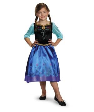 Frozen Anna Girls Disney Costume Classic Arendale Princess Dress