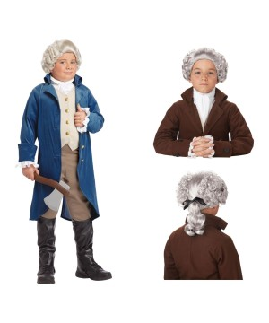 George Washington Boys Costume And Wig Set