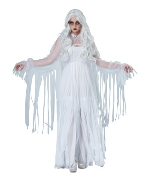 White Ghostly Spirit Scary Womens Halloween Costume