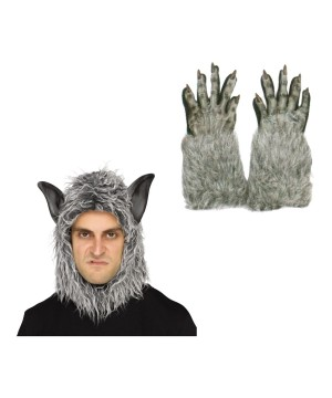 Wolf Beast Mask And Gloves Costume Set