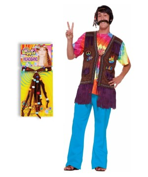 Happy Hippie Men Costume Kit