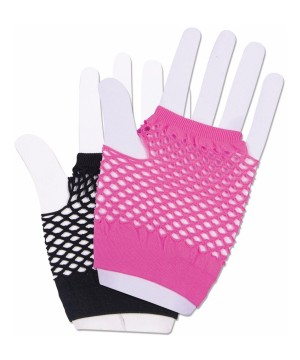 Harlequin Short Fishnet Pink And Black Glove Set