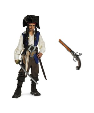 Jack Sparrow Boys Pirate Costume And Pistol Toy Set