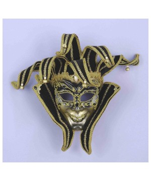 Black And Gold Jester Venetian Mask