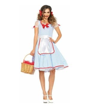 Wizard Of Oz Dorothy Womens Costume Halloween New Vintage Apron Dress