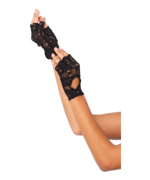 Black Lace Keyhole Fingerless Women Gloves