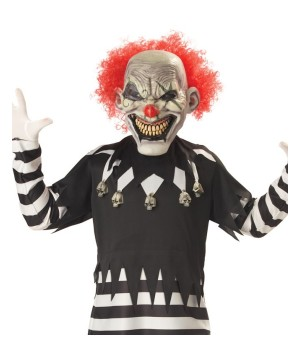 Creepy Psycho Clown Boys Costume With Glow In The Dark Mask