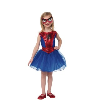 Marvel Spiderman Spidergirl Girls Dress Tutu Halloween Play Costume