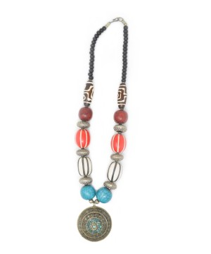Tibetan Necklace With Multicolored Turquoise Pendant