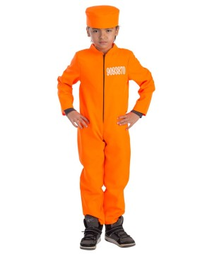 Behind Bars Prisoner Orange Jumpsuit Boys Costume
