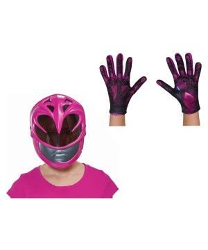 Girls Pink Power Ranger Movie Mask And Gloves Set