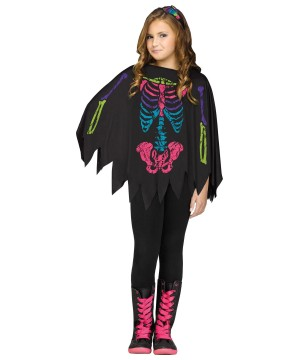 Skeleton Girls Poncho Costume