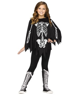 Skeleton Poncho Girls Costume