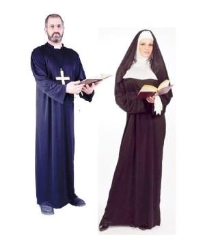 Adult Priest And Nun Costume Kit