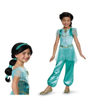 Disney Princess Jasmine Girls Costume and Wig Set