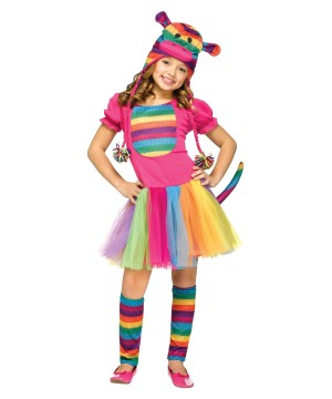 Colorful Animal Rainbow Sock Monkey Girls Costume