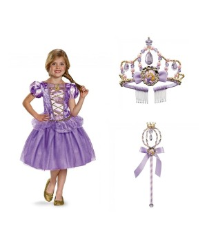 Disney Princess Rapunzel Costume Wand And Tiara Girls Set