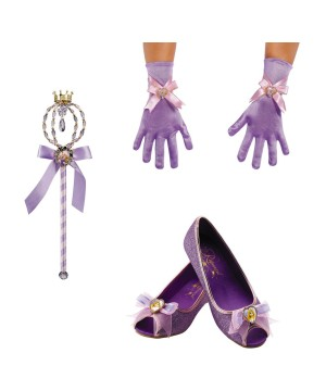Girls Rapunzel Shoes Gloves And Wand Costume Accessory Set