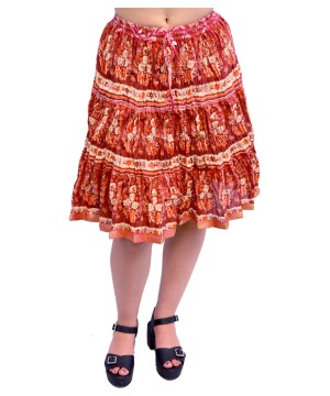 Womens Raspberry Red Cotton Printed Mini Skirt
