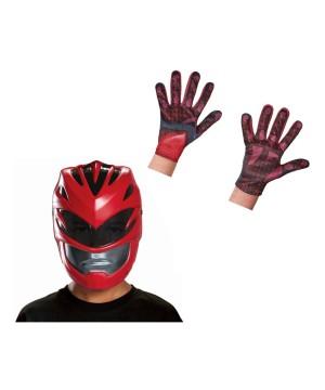 Boys Red Power Ranger Movie Mask And Gloves Set